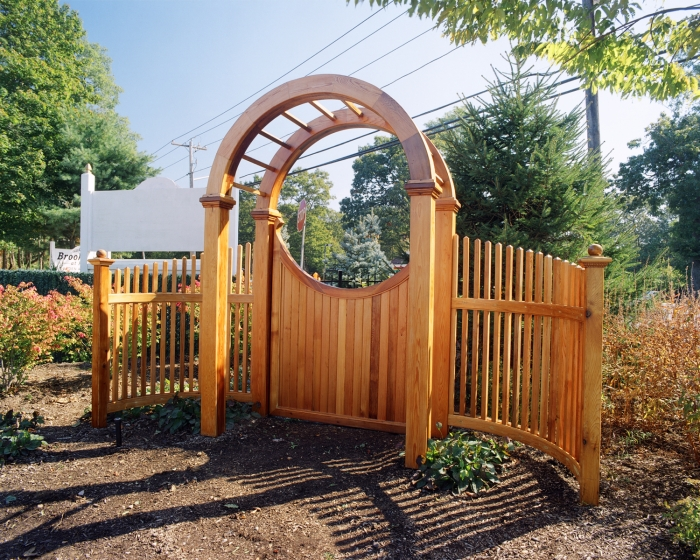 Custom Red Cedar Arbor W. Gate and Accents
