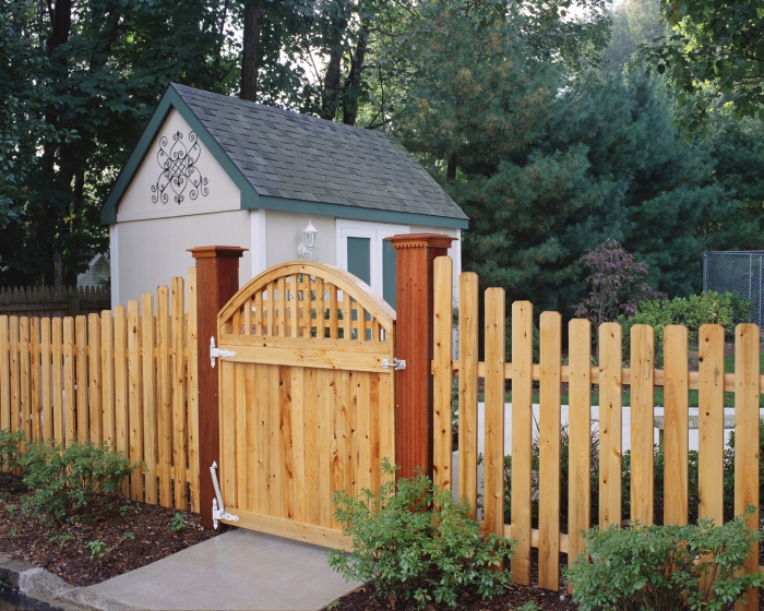 White Cedar Fence Style #109 W. Custom Gate and Posts