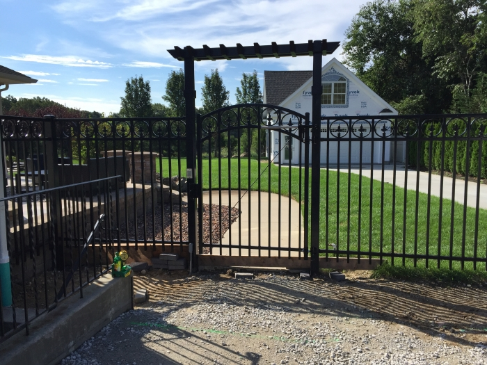 Powder Coated Steel Arched Gate & Custom Pergola