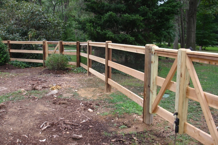 Custom Post and Rail Fencing with Mesh