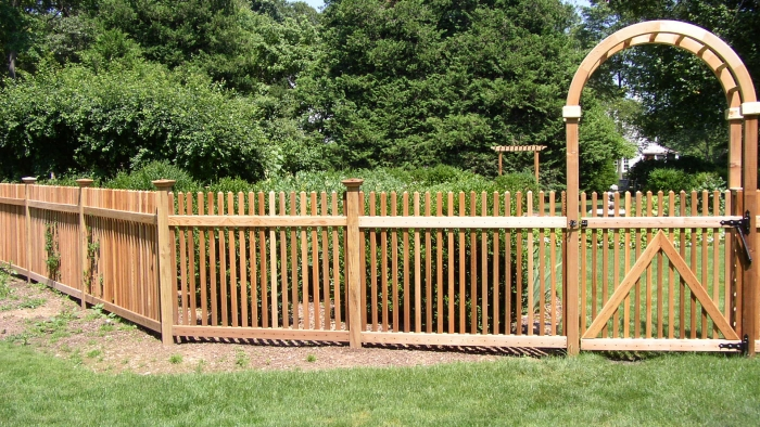 Custom Wood Picket Fencing with Cedar Arbor