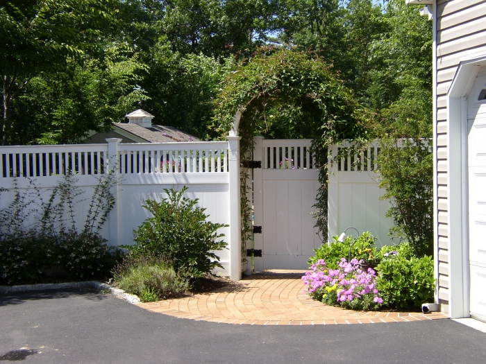 Closed Picket Top PVC Fence with Arbor